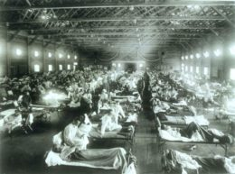 The influenza is thought to have spread from Camp Funston in the Unites States