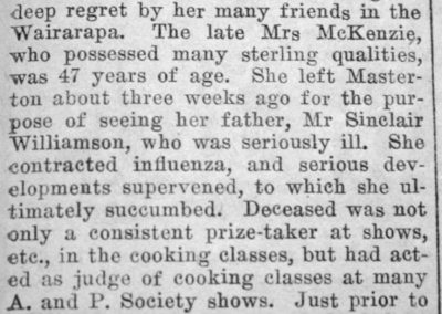 Newspaper clipping showing the obituary of Mrs J.B. McKenzie.