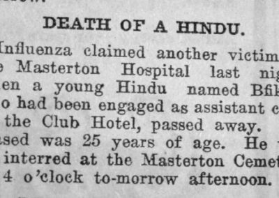 Newspaper clipping, the obituary of Bfikha, a young Hindu.