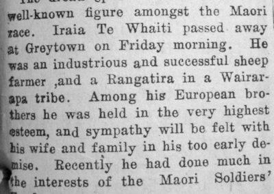 Newspaper clipping showing the obituary of Iraia Te Whaiti