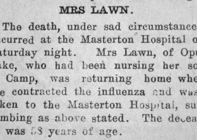 Newspaper clipping showing the obituary of Mrs Lawn.