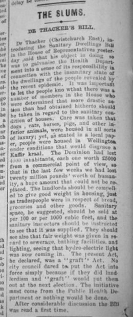 Newspaper clipping about Dr Thacker's Sanitary Dwellings Bill.