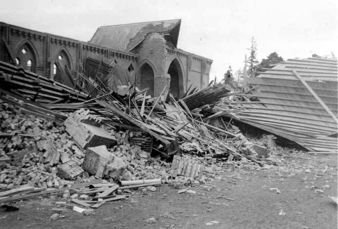 Masterton's St Matthew's Church badly damaged by the 1942 earthquake.