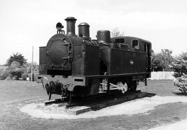 Old steam locomotive on display at Featherston.