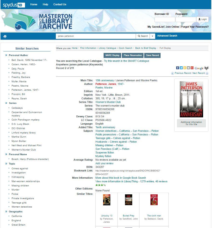Masterton Library Catalogue screenshot.