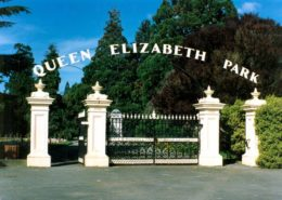 The gates at the main entrance to Queen Elizabeth Park.