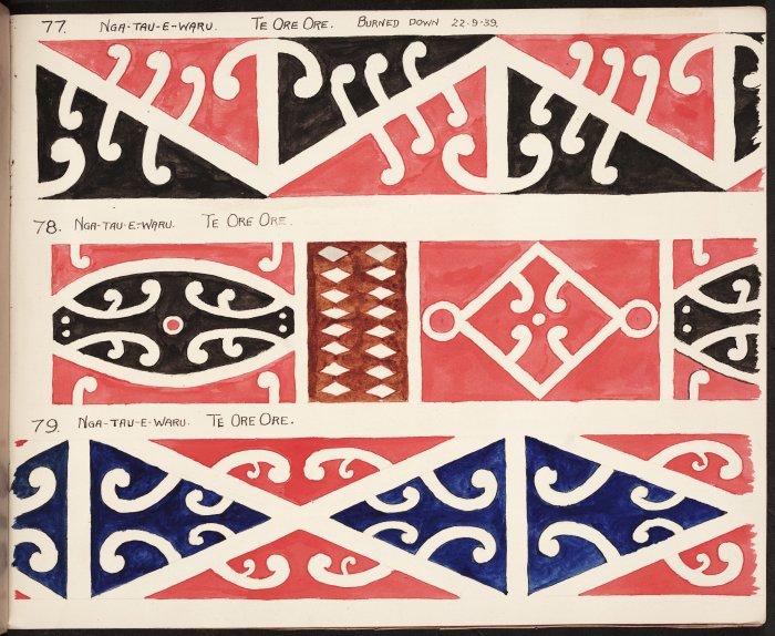 Albert Godber's painted copies of the kowhaiwhai from Nga Tau e Waru in the 1930s.