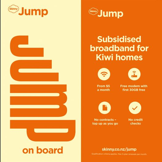 No internet connection? Contact us at Masterton Library for skinny jump! Free, no contract modem delivered to your door, plug in and use, from $5 per 30GB.